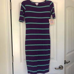 LuLaRoe Julia Form Fitting Striped Dress NWT XXS